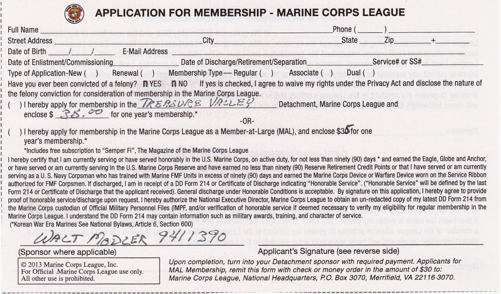 Recruiting New Members Treasure Valley Detachment Marine Corps League