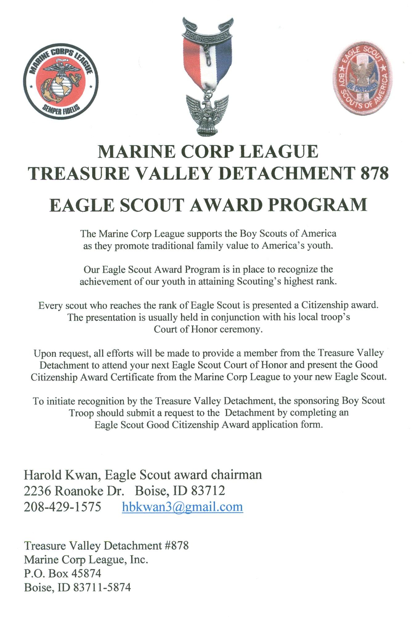 Eagle Scout Good Citizenship Award | Treasure Valley Detachment ...
