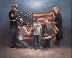 Marine and family w-flag