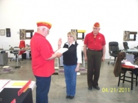 Gail Hughes being sworn in as an Associate member by Arnie Strawn, DetCmdt.JPG