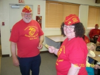May 20th Chris recieving her PLM card from Cmdt Arnie Strawn.JPG